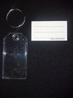 "2-1/4"" Clear Plastic Key Tags w/Split Metal Ring <img src="